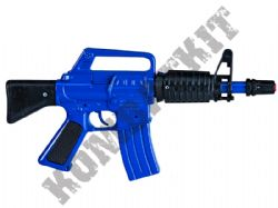 R136 Die-Cast Metal 8 Shot Toy Cap Gun Mini M16 Machine Rifle Police Blue